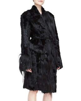 Self-Belted Fur Topper Coat, Black