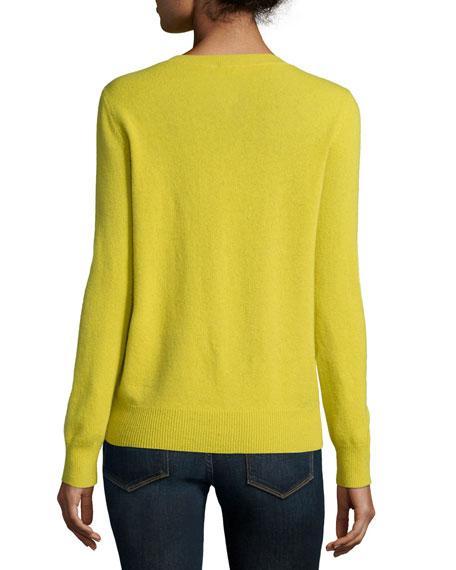 Long-Sleeve Deep V-Neck Cashmere Top
