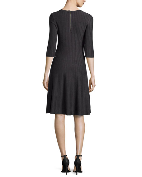 Twirl 3/4 Sleeve Knit Fit-and-Flare Dress