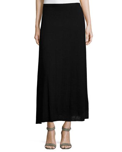 Merino Rib-Paneled Maxi Skirt
