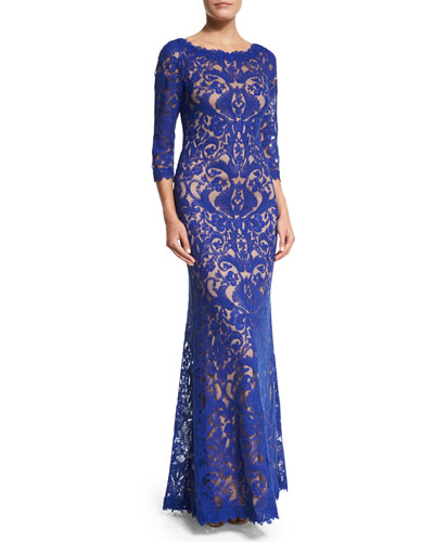 3/4-Sleeve Lace Gown