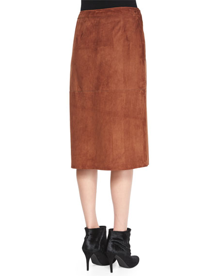 Gantrima Suede Wrap Skirt, Deep Sandalwood