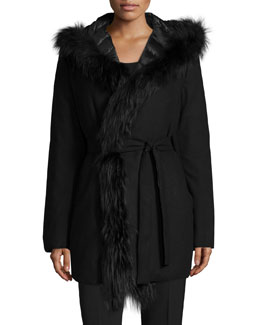 Reversible Wool-Blend Coat W/ Fur Trim