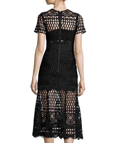 Short-Sleeve Cutwork-Lace Midi Dress, Black