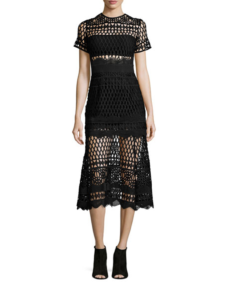 Self Portrait Short-Sleeve Cutwork-Lace Midi Dress, Black