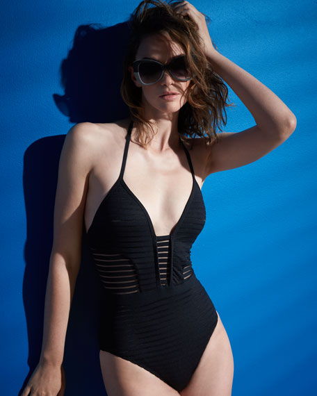 Parallels Ribbed Mesh One-Piece Swimsuit