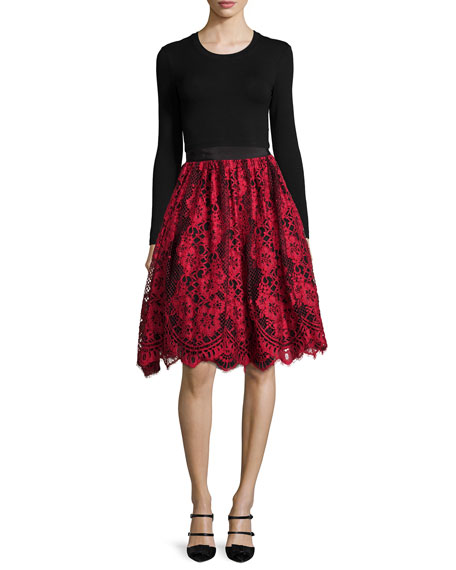 Lorelei Lace A-Line Skirt, Red