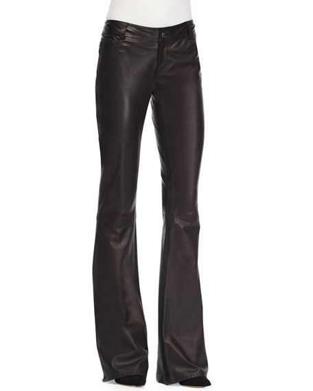 Alice + Olivia Leather Flare-Leg Pants, Black