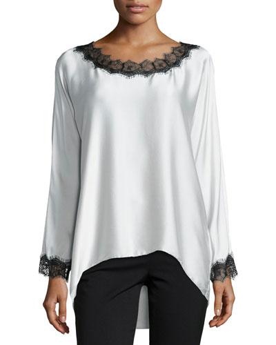 Long-Sleeve Silk Tunic W/ Lace Trim