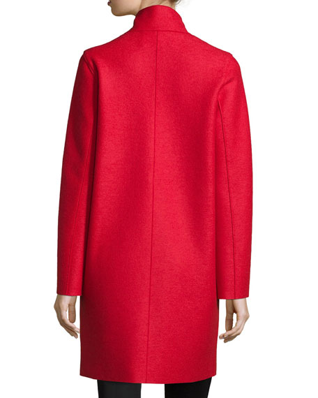 Double-Face Wool Hidden Placket Coat