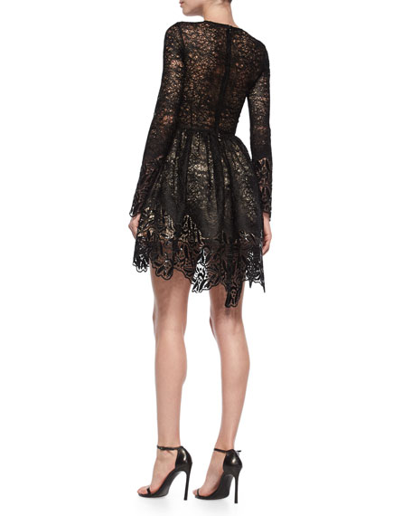 Alexis Long-Sleeve Malin Lace A-Line Skirt, Black
