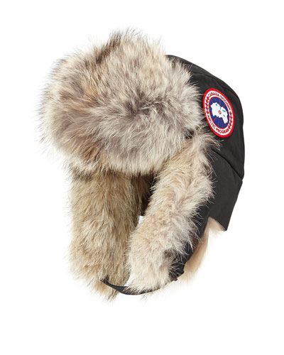 Coyote-Fur Aviator Hat, Black