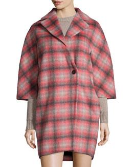Plaid Button-Front Asymmetric Coat, Pink