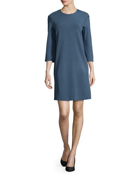 3/4-Sleeve Jewel-Neck Shift Dress