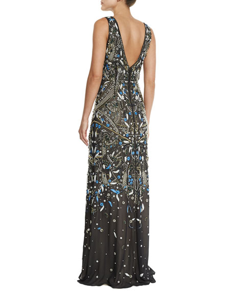 Image 3 of 3: Sleeveless V-Neck Embroidered Gown