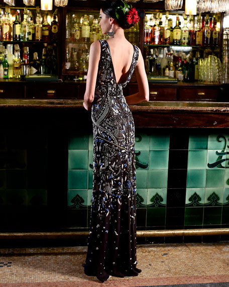 Image 2 of 3: Sleeveless V-Neck Embroidered Gown