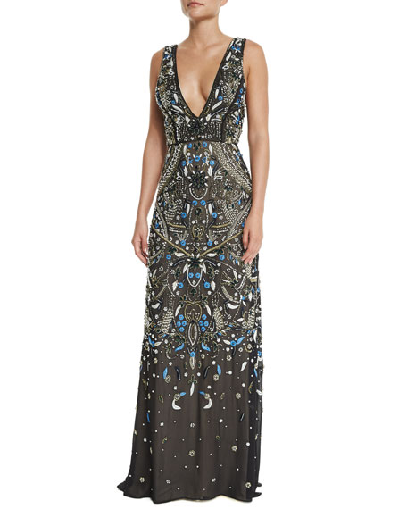 Image 1 of 3: Sleeveless V-Neck Embroidered Gown