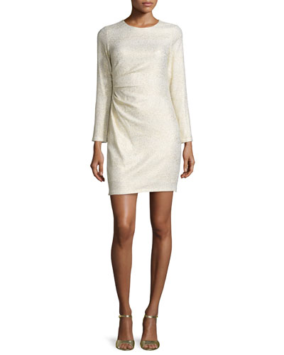 Long-Sleeve Ruched-Side Metallic Dress, Ivory/Gold