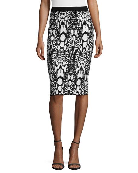 Visual-Print Jacquard Pencil Skirt