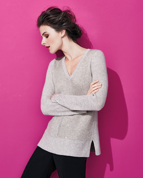 Sequin Ribbed-Stitch V-Neck Sweater