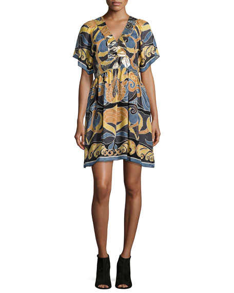 Anna Sui Short-Sleeve V-Neck Dress, Nutmeg Multi