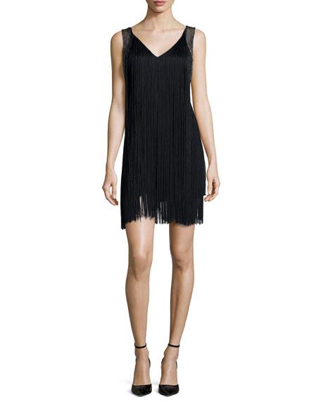 Haute Hippie Sleeveless Fringe Flapper Dress, Black