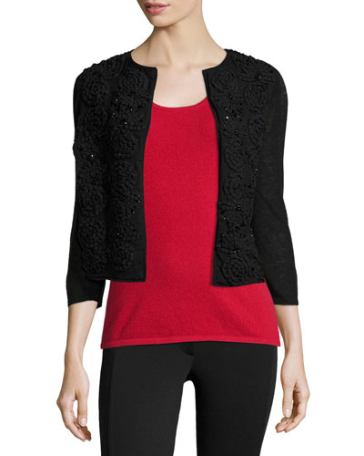 Scroll Embellished Cashmere Shrug