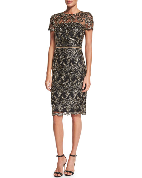 David Meister Short-Sleeve Embroidered Cocktail Dress