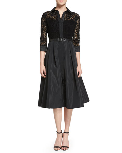 Lace Full-Skirt Belted Cocktail Shirtdress