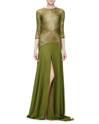 3/4-Sleeve Geometric-Sequin Gown, Olive