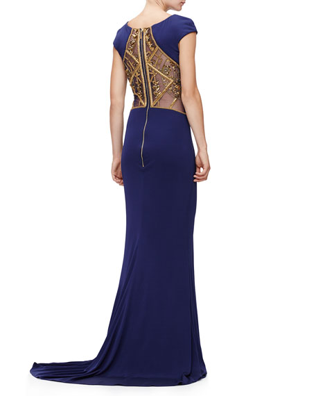 Cap-Sleeve Embellished Gown, Sapphire