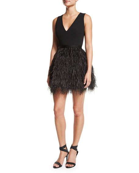 Alice + Olivia Kiara V-Neck Feather-Trim Bell Dress,