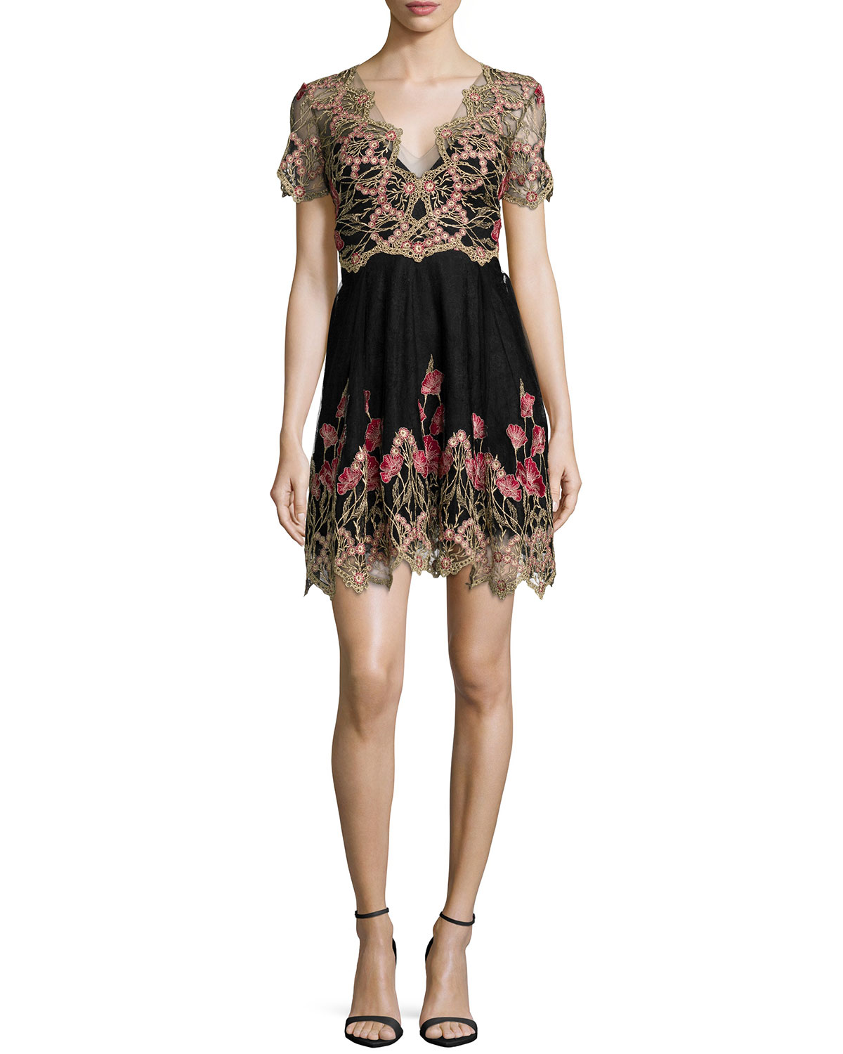 947439d7b395 Marchesa Notte Short-Sleeve Embroidered Tulle Cocktail Dress ...