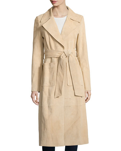 Long Suede Belted Trench Jacket