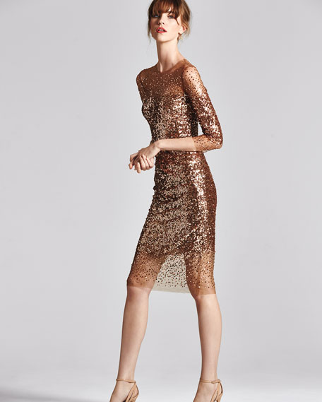 Sequined Ombre Illusion 3/4-Sleeve Dress