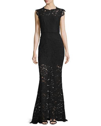 Estelle Cutout Lace Maxi Dress, Black