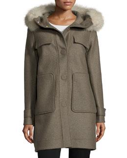 Snap-Front Coat W/ Fox Fur Hood, Green