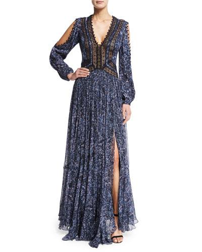 Long-Sleeve Printed Maxi Dress, Blue/Black