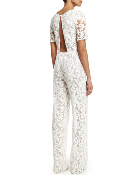Image 3 of 5: Kendra Floral-Lace Jumpsuit, White