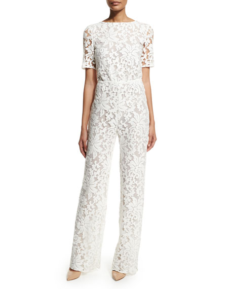 Image 1 of 5: Kendra Floral-Lace Jumpsuit, White