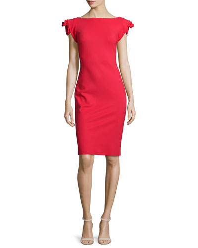 Donna Rosette-Sleeve Sheath Dress