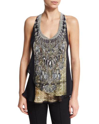 V-Neck Double-Layer Embellished Tank, Celestial Tribute