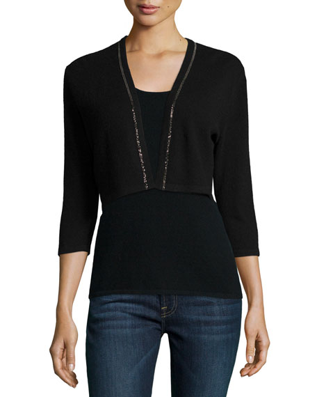 Neiman Marcus Cashmere Collection Cashmere Shrug with Chain