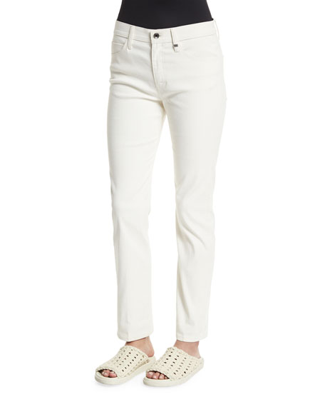 Helmut Lang Skinny Mid-Rise Ankle Jeans, Ivory