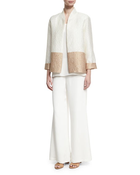 Silk Wide-Leg Pants, White, Petite