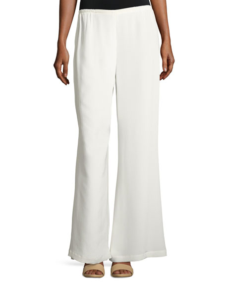 Caroline Rose Silk Wide-Leg Pants, White, Petite