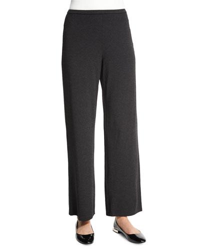 Straight-Leg Stretch Pants, Charcoal, Women's