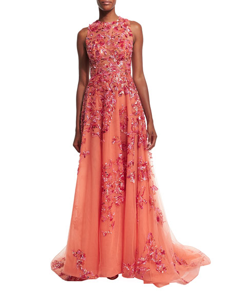 Sleeveless Embellished Gown, Coral