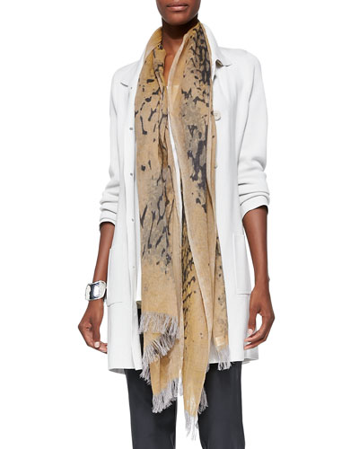 Mottled Wool Printed Scarf