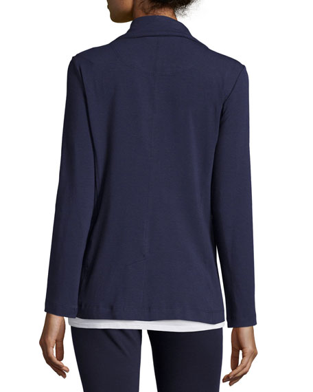 High-Collar Stretch Jersey Jacket